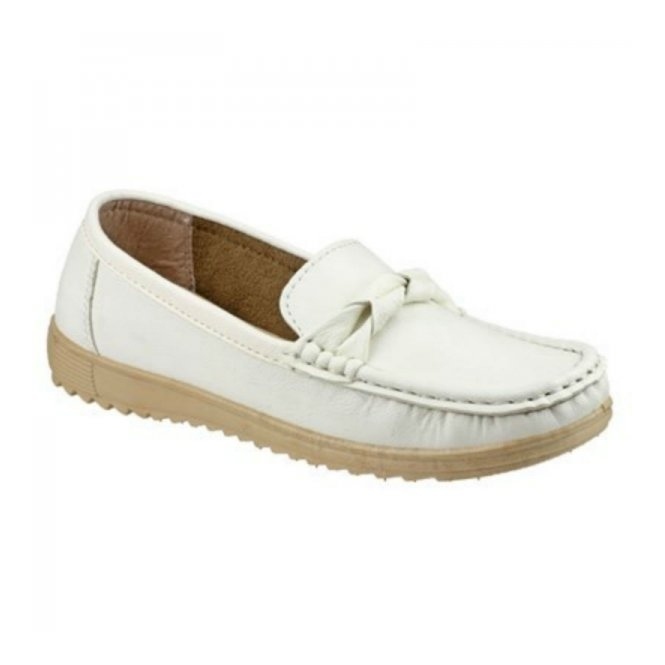 Amblers PAROS Ladies Slip On Casual Loafers White