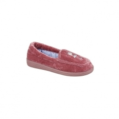 PATTIE Girls Velour Full Slippers Red