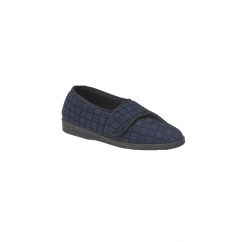 PAUL Mens Wide Fit Velcro Checked Slippers Blue