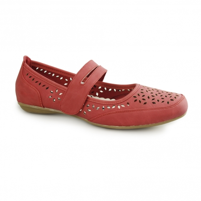 Natrelle PAULINE Ladies Faux Leather Mary Jane Shoes Red