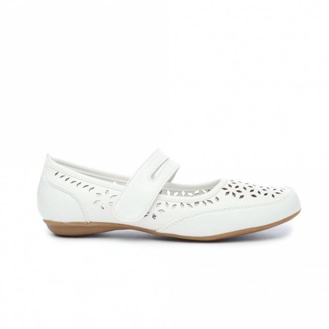 Natrelle PAULINE Ladies Faux Leather Mary Jane Shoes White