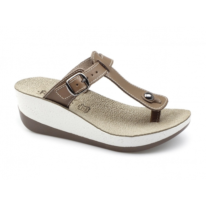 Fantasy Sandals PAXNOS Ladies Toe Post Slip On Wedge Sandals Tan