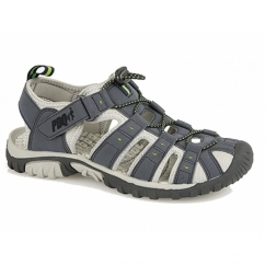 KEN Mens Nubuck Toggle & Velcro Summer Sandals Navy/Lime