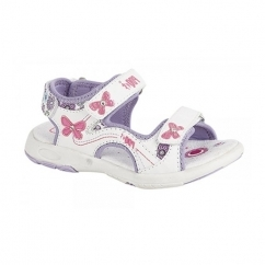 KIMBERLY Girls Faux Nubuck Velcro Sports Sandals White/Floral