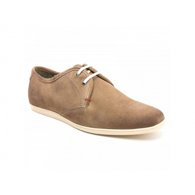 Base London PEBBLE Mens Greasy Suede Lace Up Shoes Taupe