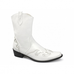 PEDRO Mens Calf Length Cowboy Boots White