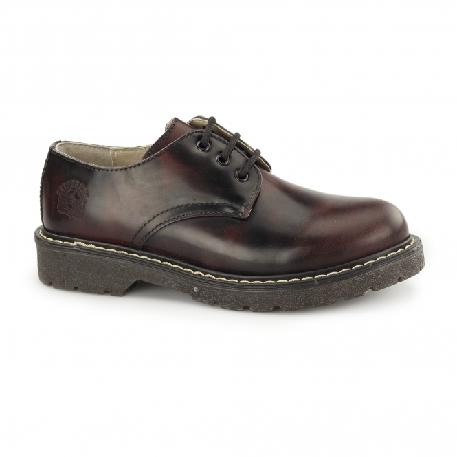 Grinders PERCIVAL Unisex Leather Derby Shoes Burgundy