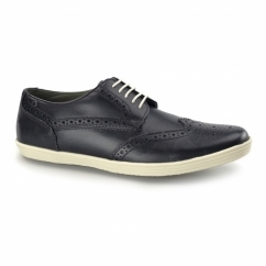 PERFORM Mens Leather Brogue Shoes Black