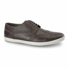 PERFORM Mens Leather Brogue Shoes Brown