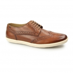 PERFORM Mens Leather Brogue Shoes Snake Tan