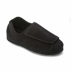 PETER Mens Touch Fasten Extra Wide Plus Full Slippers Black