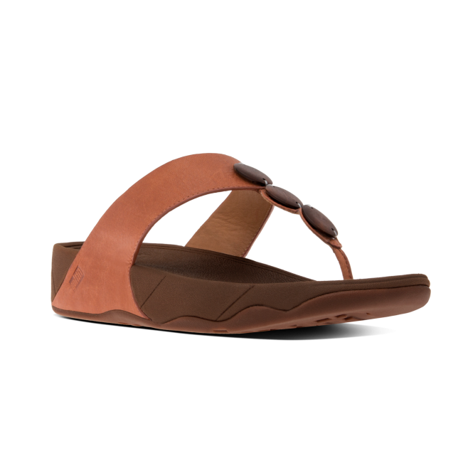 FitFlop™ PETRA™ Ladies Leather Decorative Toe Post Sandals Dark Tan