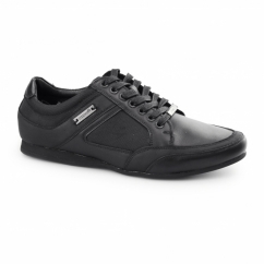 PHOENIX Mens Leather Lace Up Trainer Shoes Black