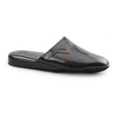 PIERO Mens Mule Comfort Slippers Black