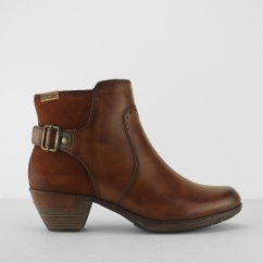 ROTTERDAM Ladies Leather Zip Up Ankle Boots Cuero Tan