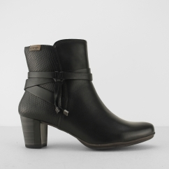 Pikolinos SEGOVIA Ladies Leather Reptile Heeled Boots Black | Shuperb