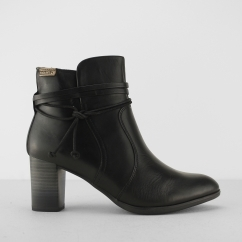 VIENA Ladies Leather Zip Up Heeled Ankle Boots Black