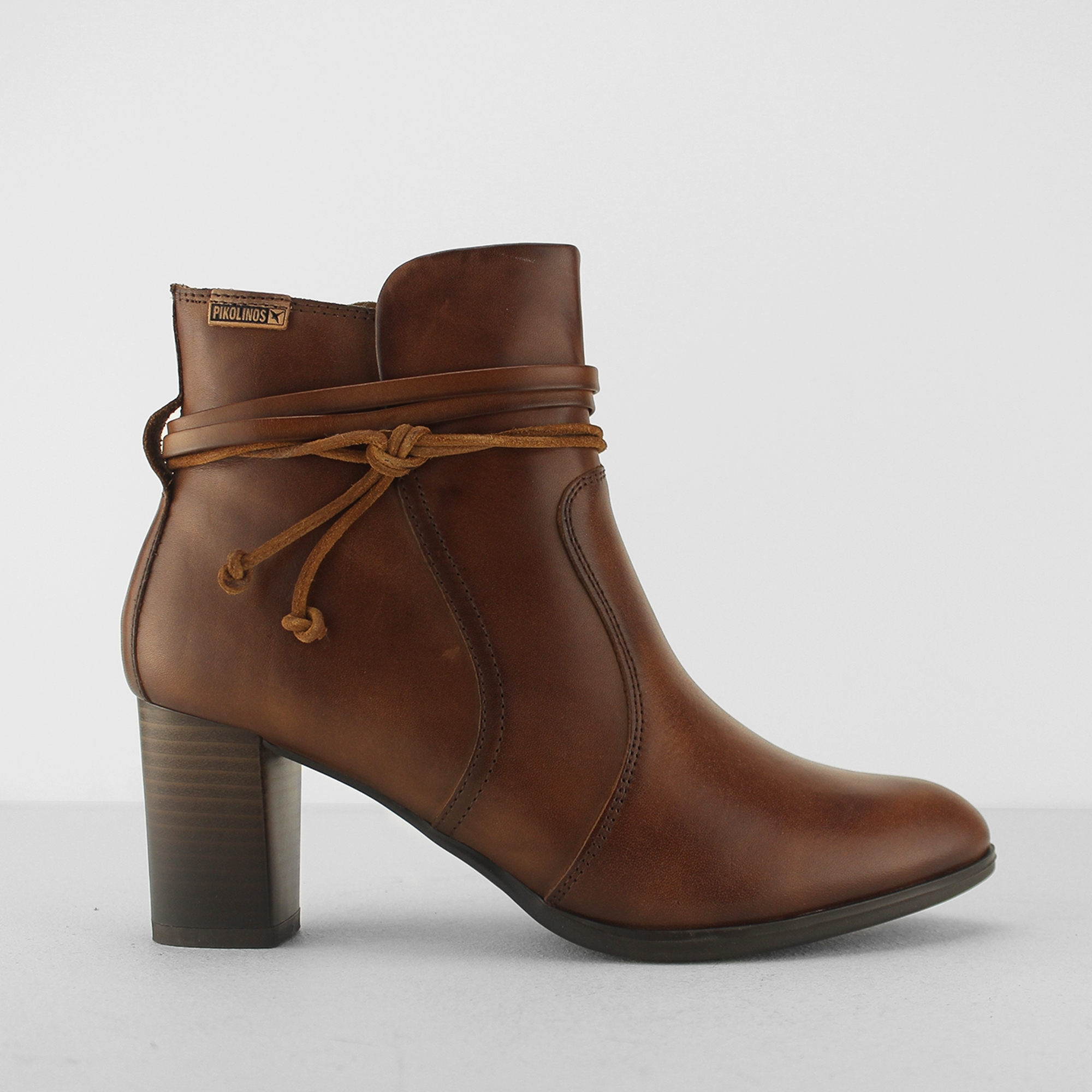 f4aa534263ea5 Pikolinos VIENA Ladies Leather Wedge Heel Zip Up Shoes Tan | Shuperb
