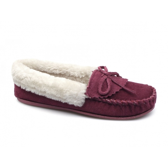 Natrelle POCA Ladies Suede Warm Lined Moccasin Slippers Wine