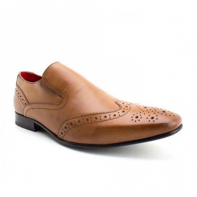 Base London POCKET Mens Leather Slip-on Brogue Shoes Tan