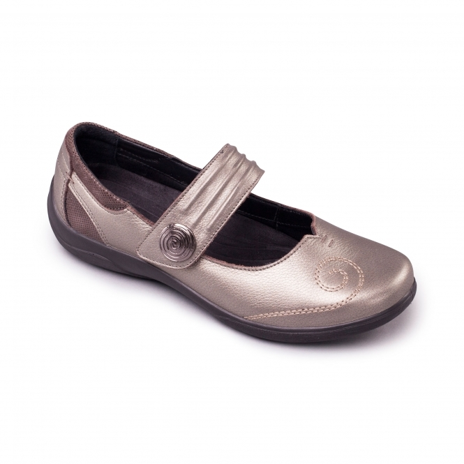 Padders POEM Ladies EEE/EEEE Extra Wide Fit Velcro Shoes Pewter