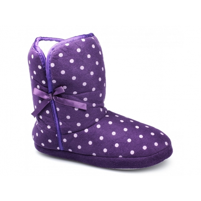 Divaz POLKA Ladies Faux Fur Lined Bootie Slippers Purple