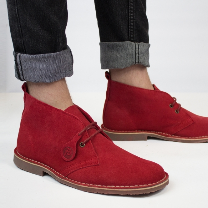 Popps COLOUR Unisex Suede Desert Boots Chilli Red