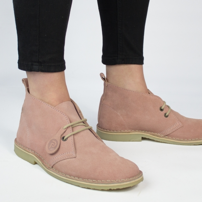 Popps COLOUR Unisex Suede Desert Boots Rose Pink