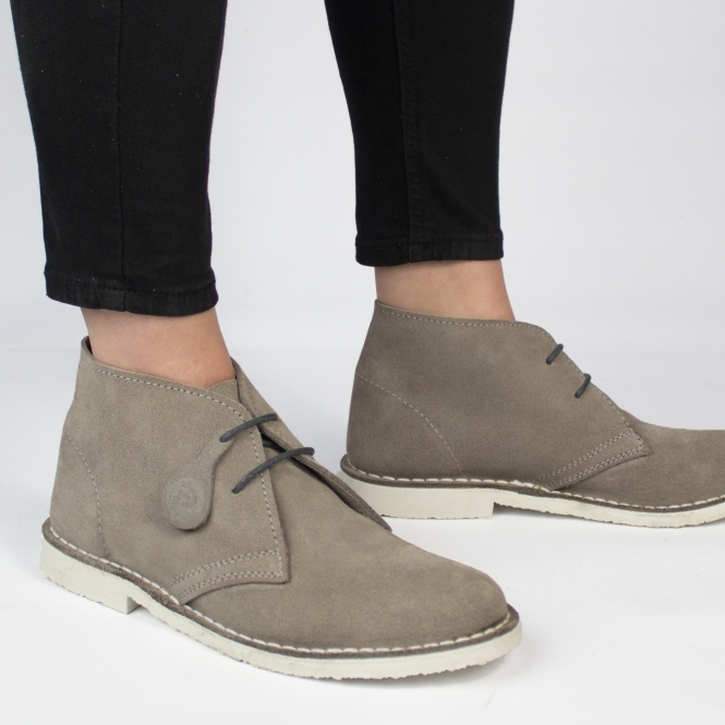 Popps PASTEL Ladies Suede Casual Desert Boots Grey