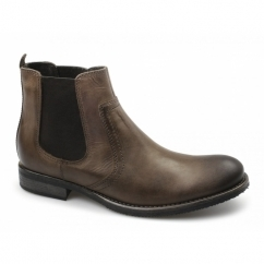 POWELL Mens Distressed Leather Chelsea Boots Brown