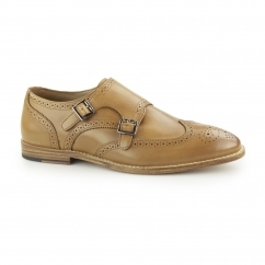 POWICK Mens Leather Wingtip Brogue Monk Shoes Tan