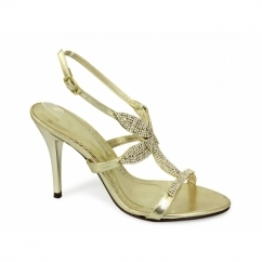 STACEY Womens High Heel Diamante Shoes Gold