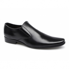 PRIMO Mens Leather Chisel Toe Slip On Shoes Black
