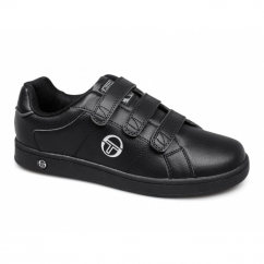 PRINCE VELCRO Mens Faux Leather Trainers Black