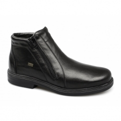 ROBIN Mens Leather Waterproof Wide EE Warm Boots Black