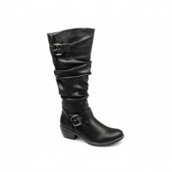 BERNADETTE Ladies Ruched Warm Zip Buckle Boots Black