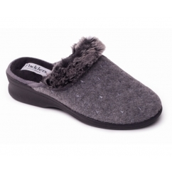 SCARLET Ladies EE Wide Faux Fur Mule Slippers Grey