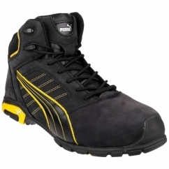 AMSTERDAM 632240 Mens Nubuck/Leather Safety Boots Black/Yellow