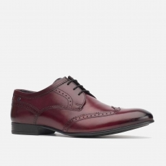 Base London PURCELL Mens Washed Leather Brogue Shoes Bordo