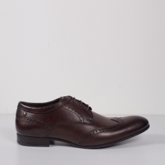 Base London PURCELL Mens Washed Leather Brogue Shoes Brown