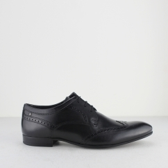 Base London PURCELL Mens waxy Leather Brogue Shoes Black