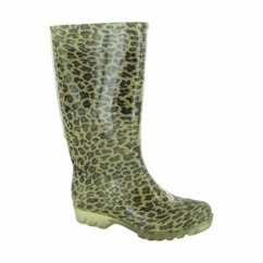 PVC LONG WELLY Ladies Patterned Wellington Boots Leopard
