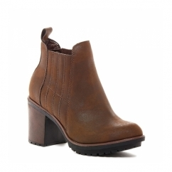 RAEGAN Ladies Block Heel Ankle Chelsea Boots Brown