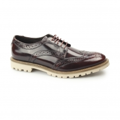Base London RAID Mens Hi-Shine Leather Derby Brogue Shoes Bordo