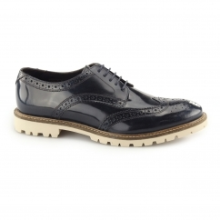 Base London RAID Mens Hi-Shine Leather Derby Brogue Shoes Navy