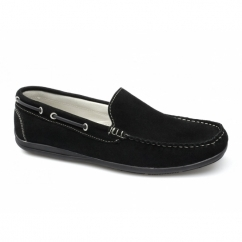 RAPID Mens Suede Moccasin Driving Loafers Black