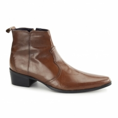 RAVELLO Mens Leather Cuban Heel Ankle Boots Tan