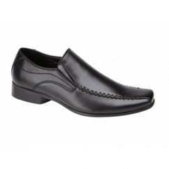 RAVEN Boys Faux Leather Slip On School Shoes Black