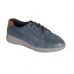 RE RUN Ladies Leather Extra Wide/Plus Lace Up Shoes Navy