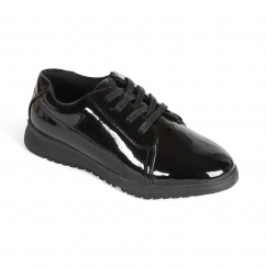 RE RUN Ladies Leather Extra Wide/Plus Lace Up Shoes Patent Black
